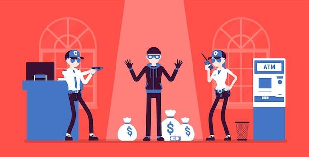 Bankräuber von polizei illustration gefangen