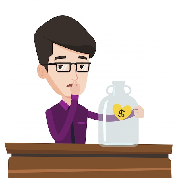 Bankrotter geschäftsmann, der leeres glas betrachtet.