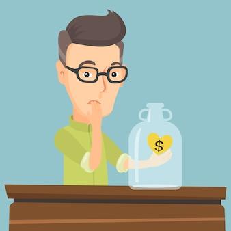Bankrotter mann, der leeren geldkasten betrachtet