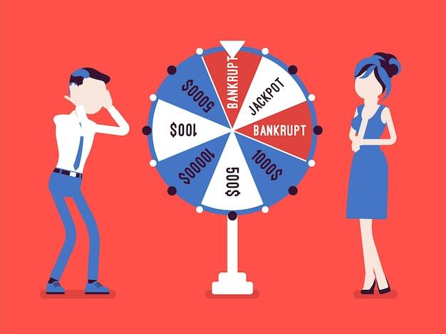 Bankrotter, unglücklicher mann, der in einer spielshow verliert