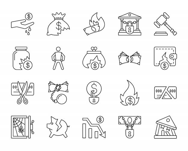 Bankrottzeichen, verlieren geld, defektes geschäft, finanzkrise, einfache linie die eingestellten ikonen.