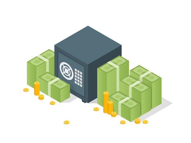 Banksafe mit gelddollar-stapelschablone