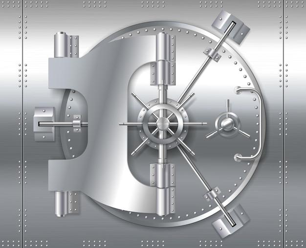 Banksafe tresortür, realistischer metallstahl-rundtormechanismus zum bunkerraum