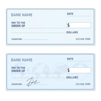 Bankscheck-schablonensatz mit modernem design isoliert.
