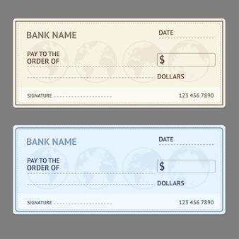 Bankscheck-schablonensatz mit weltkarte