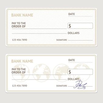Bankscheck-vorlagensatz. leeres formular mit beispielsignaturen.