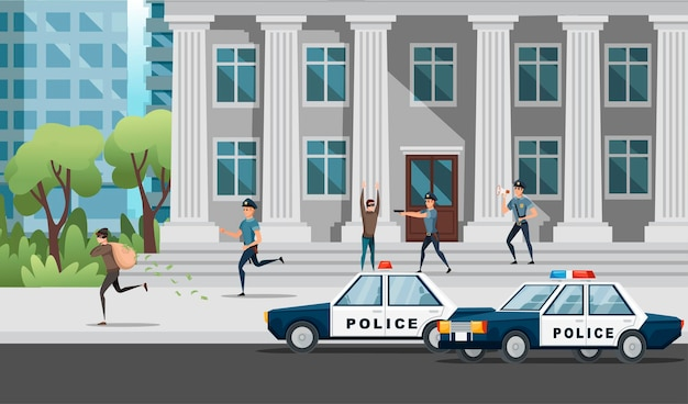 Banküberfall die polizei versucht, die räubervektorillustration auf der modernen stadtlandschaft zu fangen