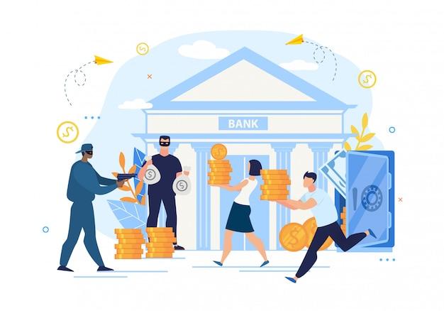 Banküberfallkriminalität und schlechter lagerschutz
