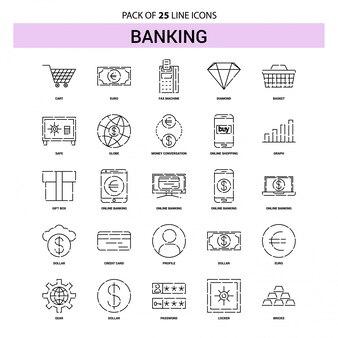 Bankverkehr-ikonen-set - 25 gestrichelte entwurfs-art