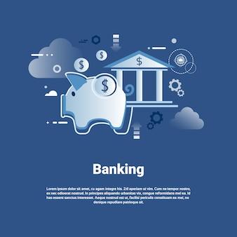Bankwesen-schablonen-netz-fahne mit kopien-raum-geldeinsparungens-konzept