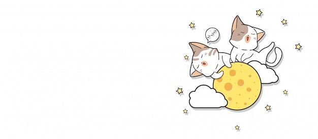 Banner adorable katzen schlafen auf dem mond
