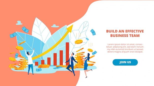 Banner bauen sie einen effektiven business-team-schriftzug auf.