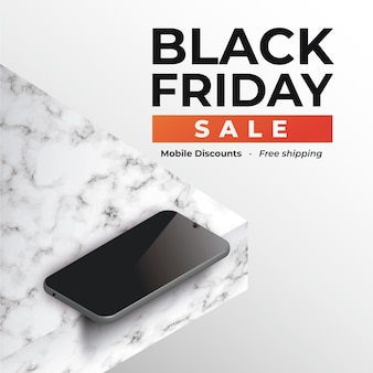Banner black friday mit smartphone auf marmor