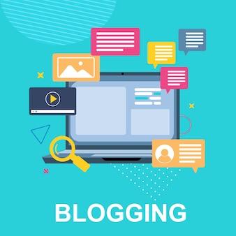 Banner blogging und laptop nachricht kommt