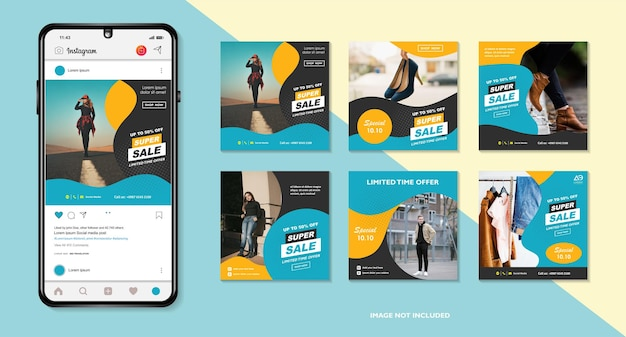 Banner-bundle-kit set von social media instagram story layout komposition smartphone vorlage
