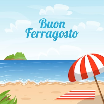 Banner buon ferragosto konzept mit strand