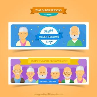 Banner der älteren menschen zu feiern