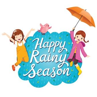 Banner der glücklichen regenzeit mit zwei mädchen, die spielerisch springen und vogel zusammen fliegen