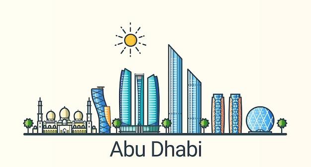 Banner der stadt abu dhabi im trendigen stil der flachen linie. alle gebäude getrennt und anpassbar. strichzeichnungen.