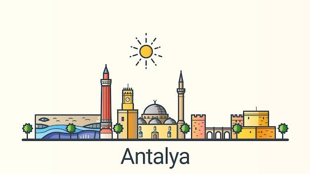 Banner der stadt antalya im trendigen stil der flachen linie. alle gebäude getrennt und anpassbar. strichzeichnungen.