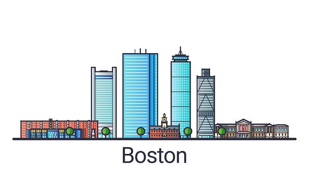 Banner der stadt boston in der flachen linie im trendigen stil. boston city line art.
