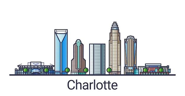 Banner der stadt charlotte im trendigen stil der flachen linie. charlotte stadt linienkunst. alle gebäude getrennt und anpassbar.