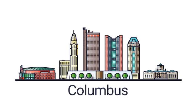 Banner der stadt columbus in der flachen linie im trendigen stil. columbus stadtlinie kunst. alle gebäude getrennt und anpassbar.