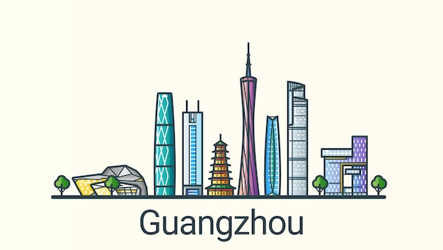 Banner der stadt guangzhou in der flachen linie im trendigen stil. alle gebäude getrennt und anpassbar. strichzeichnungen.