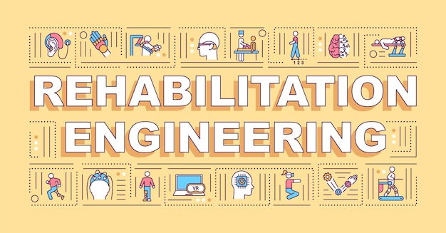Banner der wortkonzepte der rehabilitationstechnik. lösungen für behinderungen. infografiken mit linearen symbolen. isolierte typografie.