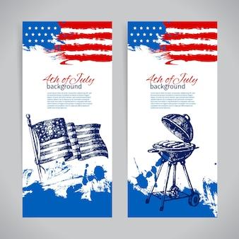 Banner des 4. juli hintergründe mit amerikanischer flagge. handgezeichnetes skizzendesign zum unabhängigkeitstag