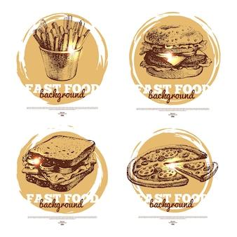 Banner des fast-food-skizzen-designs. handgezeichnete illustrationen. splash-blob-hintergründe