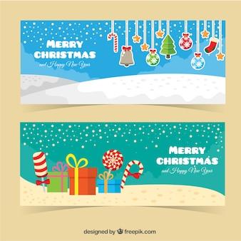 Banner des frohe weihnachten und neujahr mit ornamenten