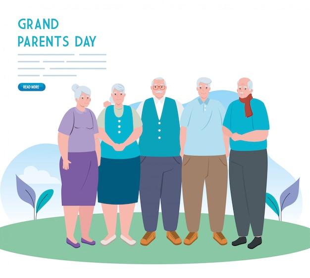 Banner des glücklichen großelterntags mit dem illustrationsdesign der alten leute im freien