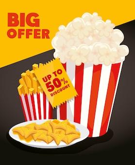 Banner des großen angebots mit popcorn und leckerem essen