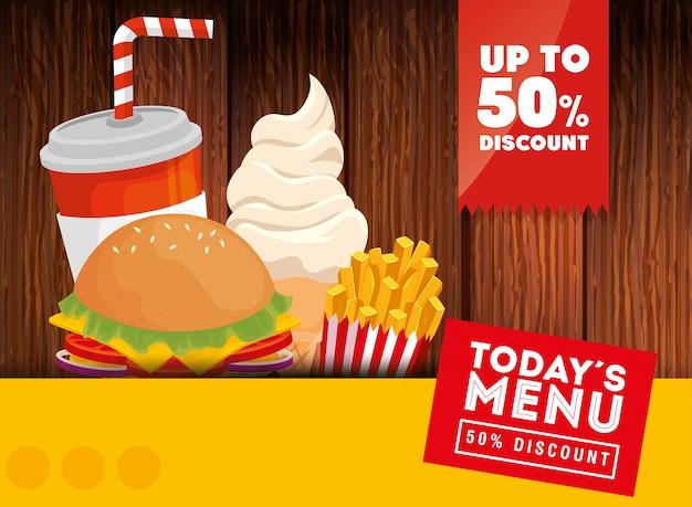 Banner des heutigen menüs fast food fünfzig rabatt