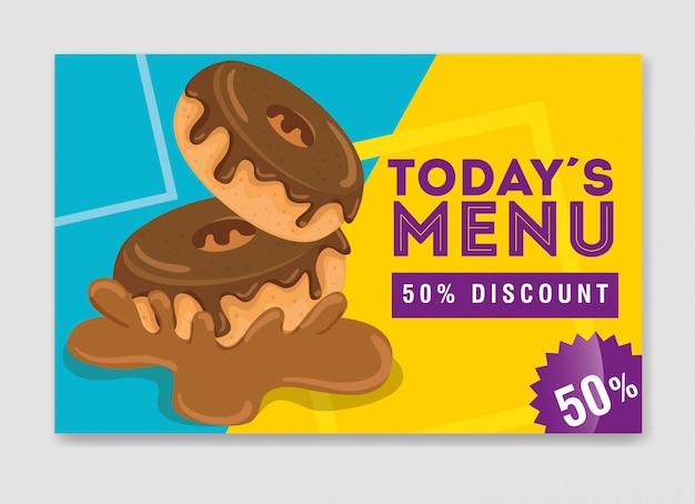 Banner des heutigen menüs mit leckerem donut