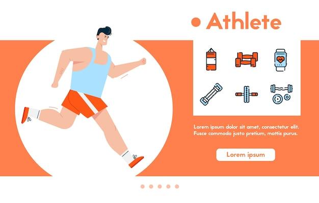 Banner des mannes sportler in sportuniform joggen, gesunder lebensstil, cardio-übungen, verlust des körpergewichts. farblineares icon-set - boxsack, hanteln
