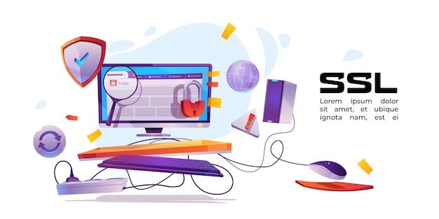 Banner des ssl-zertifikats für die website
