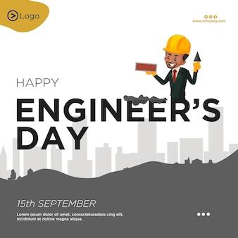 Banner-design der cartoon-stilvorlage für den tag der glücklichen ingenieure