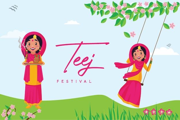 Banner-design der glücklichen haryali teej festival-vorlage