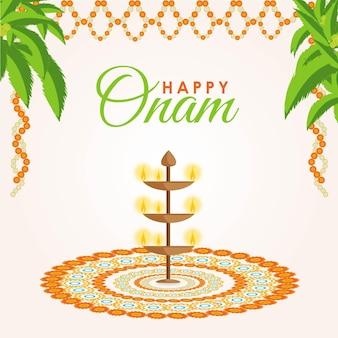 Banner-design der glücklichen onam-festival-vektor-illustration auf weißem hintergrund