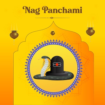 Banner-design der hindu-festival happy nag panchami-vorlage