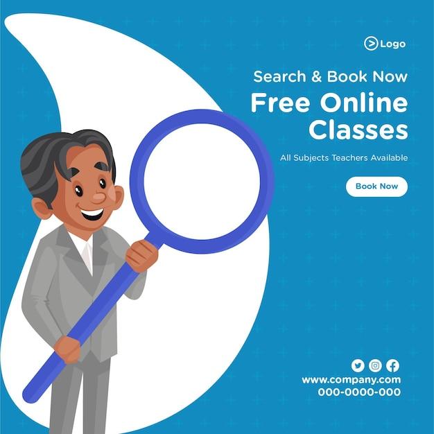 Banner-design der kostenlosen online-klassen-coaching-center-cartoon-stilvorlage