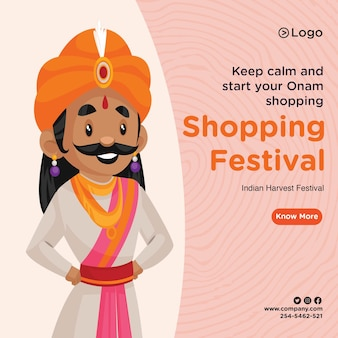 Banner design der onam shopping festival vorlage Premium Vektoren