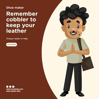 Banner-design der schuhmacher-schuster-cartoon-stilschablone