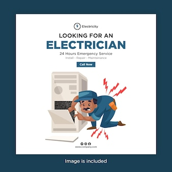 Banner-design der suche nach einem elektriker für soziale medien mit elektriker bekommen elektroschock von maschinendrähten