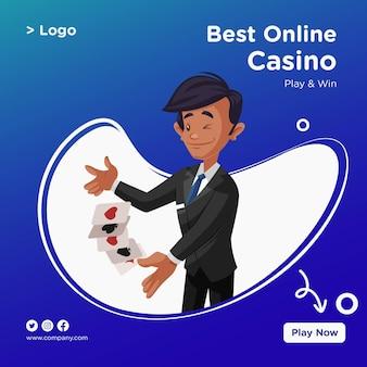 Banner-design des besten online-casino-cartoon-stils