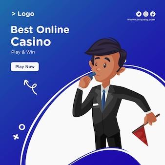 Banner-design des besten online-casinos im cartoon-stil