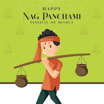 Banner design des festivals der hindus glücklich nag panchami vorlage Premium Vektoren