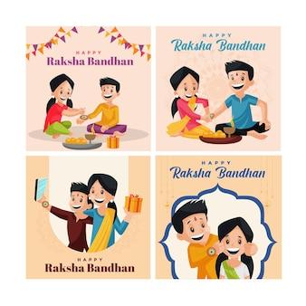 Banner-design des indischen festivals fröhliche raksha bandhan-set-vorlage